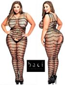 Baci Lingerie [ UK 16 - 22 ] Queen Size Black Criss Cross Style Open Bodystoc...